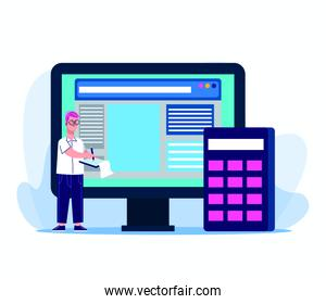 cartoon man with computer and calculator, colorful design