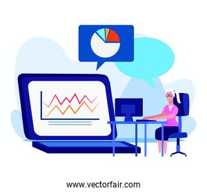 cartoon woman at desk and big laptop computer with graphic chart, colorful design