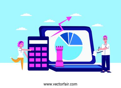 woman and man with laptop computer and calculator, colorful design