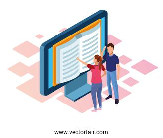 ebook design of computer with book on screen and woman and man standing