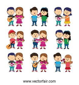 icon set of cartoon happy couples standing with gifts, colorful design