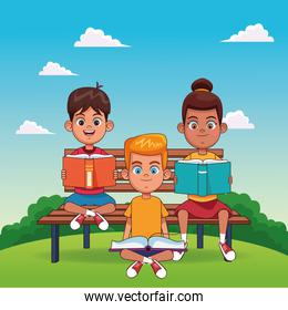 cartoon happy girls reading a books, colorful design
