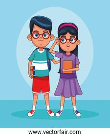 cartoon boy and girl with glasses standing