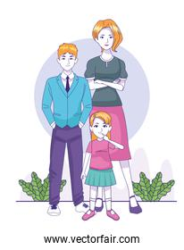 cartoon woman with teenager boy and little girl