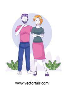 cartoon man and woman wearing casual clothes