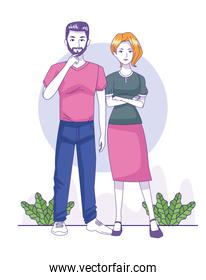 beautiful couple standing icon, colorful design