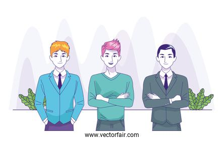 cartoon businessmen and man standing, colorful design