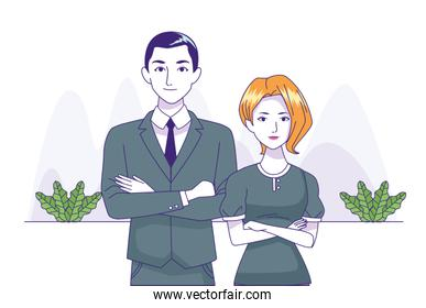 business couple standing, colorful design