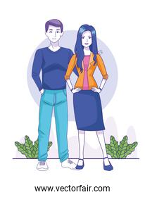 cartoon man and woman standing icon