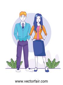 cartoon young businessman and woman standing, colorful design