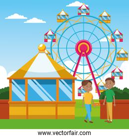 cartoon boys standing over ferris wheel and landscape background, colorful design