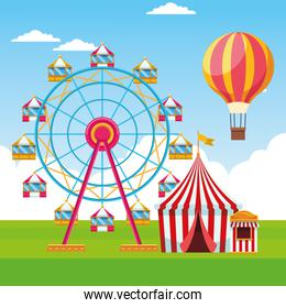 ferris wheel and fair tent, colorful design