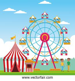 Happy boys in the fair with ferris wheel and fair tent over landscape background