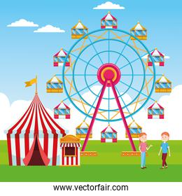 cartoon women in the fair with ferris wheel and carnival tent