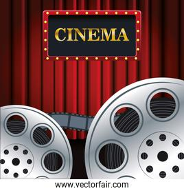 film reels over Red cinema curtains background, colorful design