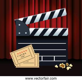 clapboard and movie tickets, colorful design