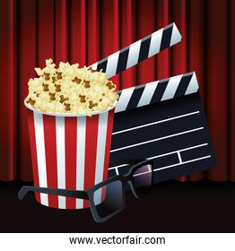 pop corn bucket with clapboard and 3d glasses, colorful design