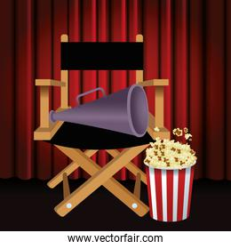 directors chair with megaphone and popcorn bucket