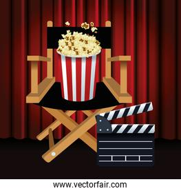 directors chair with popcorn bucket and clapboard