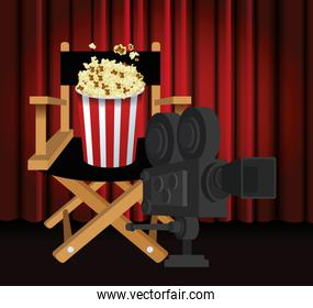 directors chair with popcorn bucket and film camera