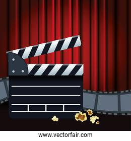 movie clapboard and film reel, colorful design