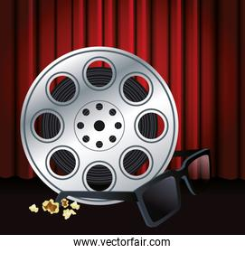 film reel tape and 3d glasses, colorful design