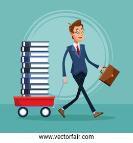 cartoon businessman with trolley with stack of books