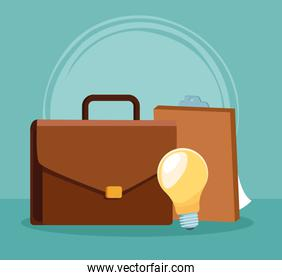 business portfolio with clipboard and bulb, colorful design