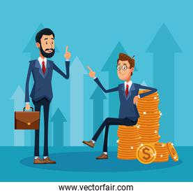 cartoon businessman standing holding a portfolio and businessman sitting on a money coins stack