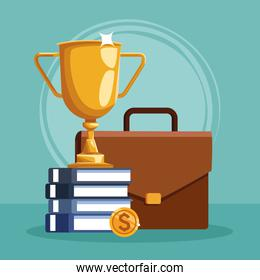 trophy cup with stack of books and business portfolio, colorful design