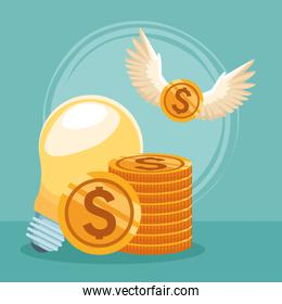bulb light with money coins and coin with wings
