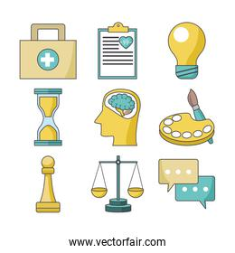 icon set of business and skills related icons, colorful design