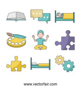 icon set of relaxing and arts skills concept, colorful design