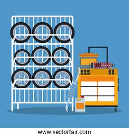 car repair shop scenery with car tires rack and tools trolley