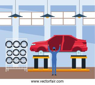 car repair shop scenery with car body and mechanic standing working