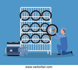 cartoon mechanic holding a car tire and car tires rack and car engine over blue bckground, colorful design