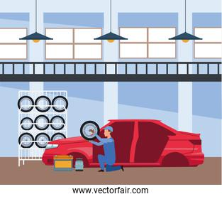 car repair shop scenery with mechanic holding a car tire and red car