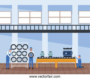 car workshop scenery with mechanics with car tires rack and car parts