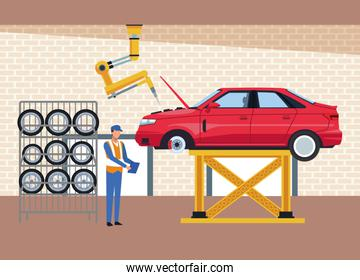 car workshop scenery with car lifted, car tires rack and mechanic supervising