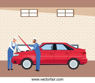 car workshop scenery with mechanics fixing a red car