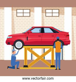 car workshop with lifted car and mechanics working