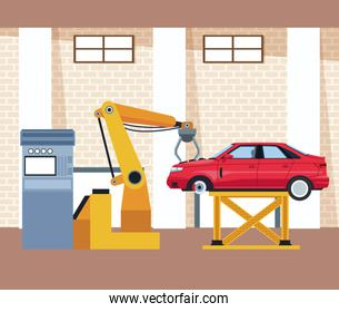 car workshop scenery with lifted car and arm industrial machine
