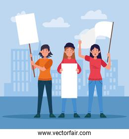 cartoon young women protestating holding blank signs and white flag
