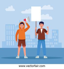 cartoon young men protestating holding blank sign and megaphone