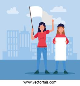young girls protestating holding blank signs