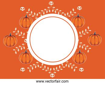 halloween circular frame with pumpkins and leafs