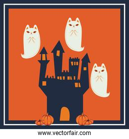 halloween cats disguised of ghost characters