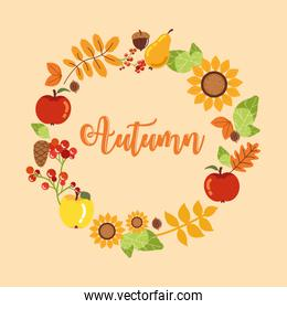 wreath of autumn with fruits and flowers