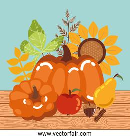 pumpkin with fruits of autumn in wooden background