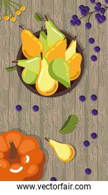 autumn pears and pumpkin in wooden table